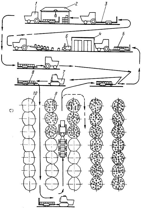 Рис. 49.  Технологическая схема маршрута вывозки плодов из сада: 1 - колесный трактор; 2 - склад пустых контейнеров...